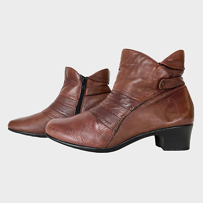 PAVERS Ladies Womens Boots Size UK 7 Eu 41 Brown Leather Ankle Boots • 14.99£