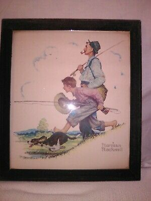 $ CDN76.54 • Buy Norman Rockwell Boy With Dog And Man Walking Fishing Rods