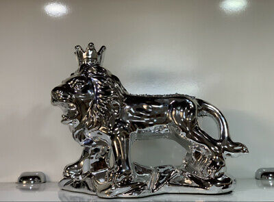 £20.45 • Buy Latest Silver Crushed Diamond Sparkly Lion Ornament, Shelf Sitter✨