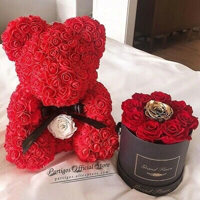 AU17 • Buy DIY Valentines Day Gifts Red Rose Bear Artificial Foam Roses Flower