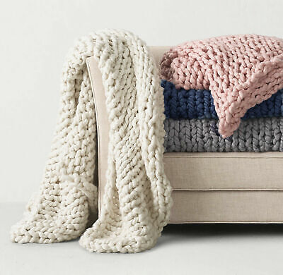 £38.99 • Buy Uk Fashion Luxury Wool Chunky Cable Knit Hand-woven Sofa Bed Chair Blanket Throw