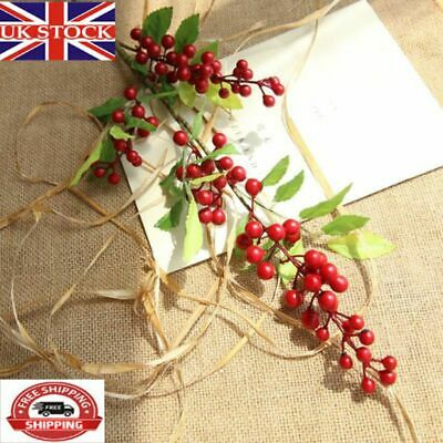 Christmas Artificial Branche Pine Berry Cone Red Fruit Fake Flower Home Decor UK • 5.51£