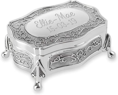 Personalised Silver Plated Antique Style Trinket/Jewellery Box - Engraved With • 25.98£