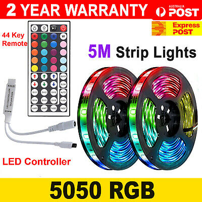 AU17.50 • Buy 5050 RGB LED Strip Lights 5M IP65 Waterproof 12V+ 44 KEY Remote IR CONTROLLER AU