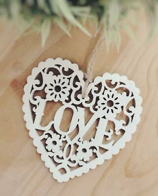 Wooden Hanging LOVE Heart Decoration Rustic Nordic White Wedding Boho Valentines • 0.99£