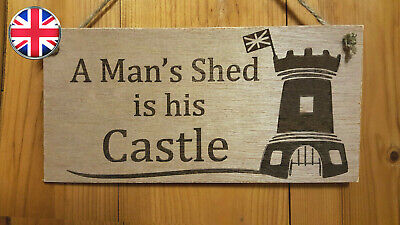 A Man's Shed Is His Castle. Gardening.Allotment Engraved Wooden Plaque Sign Dad  • 3.99£