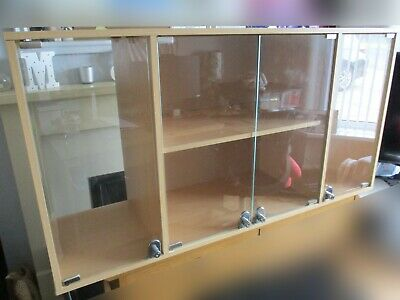 LARGE LOCKABLE DISPLAY / TROPHY CABINET - Beech Effect , 4 Lockable Glass Doors • 199£