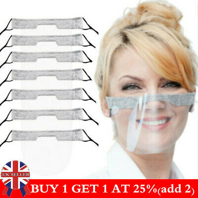 Reusable Face Shield Protection Half Face Visor Mask PPE Shield Plastic Clear UK • 3.99£