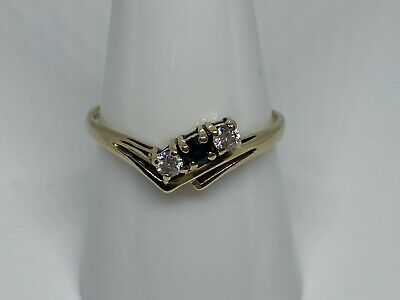 Vintage 9ct Gold Sapphire And Clear Stone Wishbone Style Ring Size R 1.2 Grams • 45£