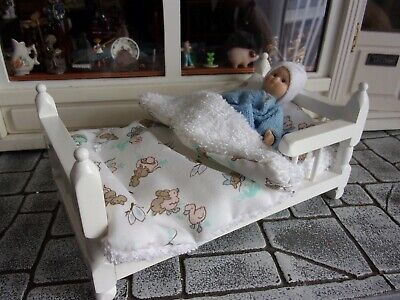 Lady Or Child Doll In Hospital Bed 1:12th Dolls House In Her Dressing Gown • 6£