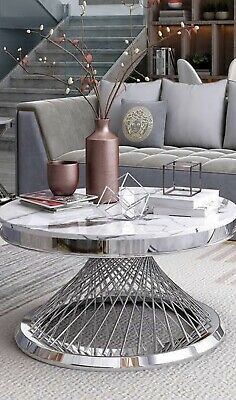 AU820 • Buy Coffee Table Round Stone Top White Stainless Steel Base Silver Brand New