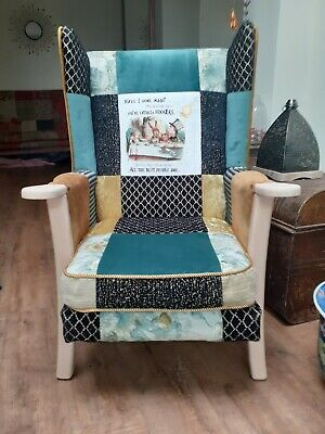 £350 • Buy Vintage Wing Back Armchair, Shabby Chic Patchwork, Alice In Wonderland