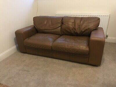 Brown Leather Sofa, Like Halo, Antique Brown Leather Sofa • 63£