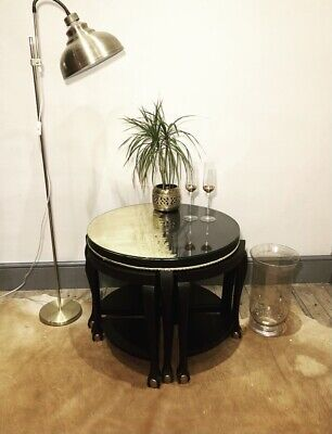 Quad Nest Of Tables, Black & Gold With Glass Top To Main Table • 135£