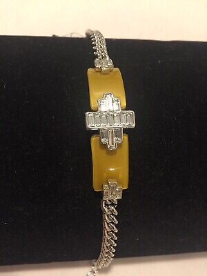 $ CDN15.77 • Buy Lia Sophia  Color Code  Silver With Crystals And Mustard Colored Resin, NWT