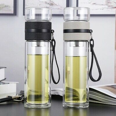 500ml Glass Water Bottles Tea Infuser Double Wall Bottle Portable Tour Office • 17.20£