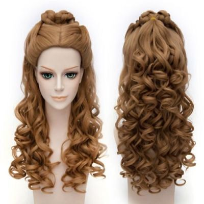 2021 Cinderella Long Wavy Fluffy Synthetic Stylish Brown Cosplay Wig Hair • 24.99£