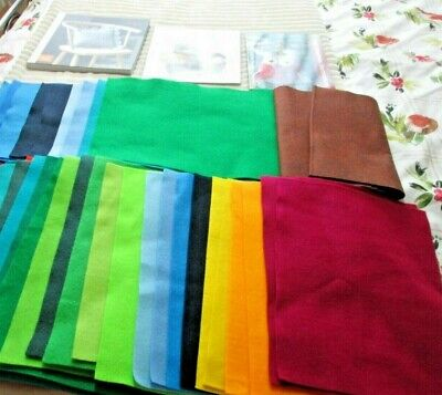 Bundle Of Assorted Craft  - Felt Fabric Pieces And 3 Sewing Books • 9.99£