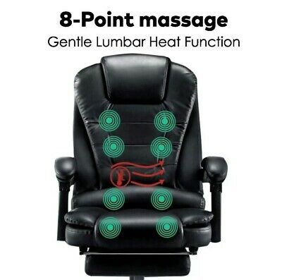 AU179.99 • Buy 8 Point Office Chair Heated Massage Chair Leather Computer Desk Recliner Gaming
