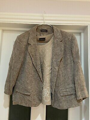 Womens Smart Alex & Co Suit, Jacket, Blouse Top And Skirt In Beige Uk 18 • 12£