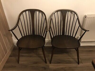 Set Of 2 Vintage Retro 60's Ercol Ercol Windsor Bow Armchairs (model 514) • 189£
