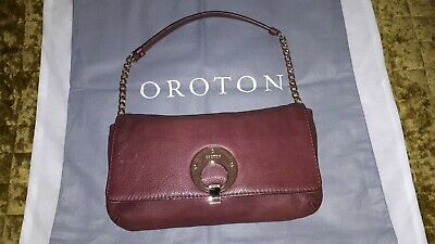AU27.80 • Buy Oroton Plum/maroon Leather Clutch/shoulder Bag Pre-owned