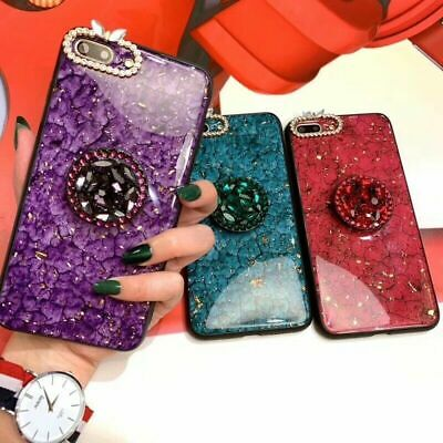 Diamond Marble Bling Case For IPhone XR 6s 7 8 Plus 11 XS Max With Stand Holder • 3.79£