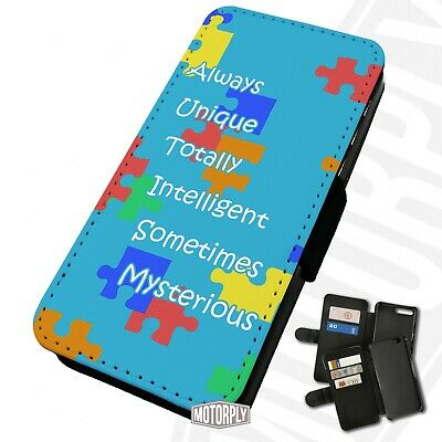 Printed Faux Leather Flip Phone Case For IPhone - AUTISM-Acronym • 9.75£