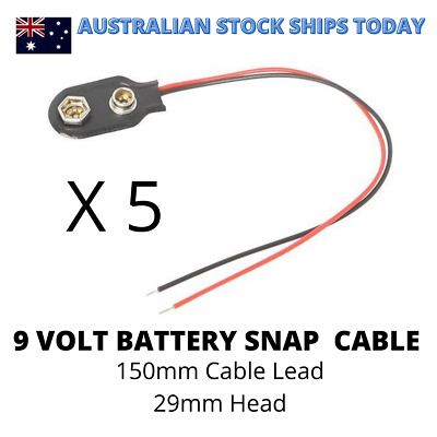 AU5.50 • Buy 9V Volt Wired Battery Snap Clip -150mm Cable Lead 29mm Head X 5