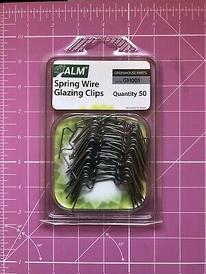 ALM Greenhouse Green House Spring Wire Window Glazing Glass W Clips Pk 50 GH001 • 5.99£