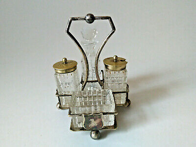 Vintage Silver Plated 4 Piece Glass Cruet Set On Stand • 24.99£