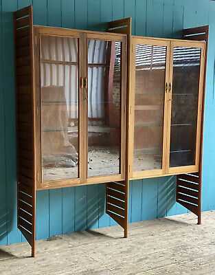Rare Mid Century Staples Ladderax Teak Glazed Bookcases Glass Shelving *DELIVERY • 750£
