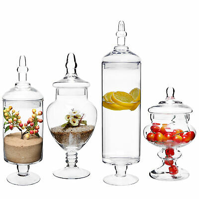 MyGift Set Of 4 Large Classic Clear Glass Candy Buffet Apothecary Jars With Lids • 65.12£