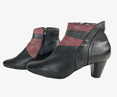 PAVERS Ladies Womens Boots Size UK 4 Eu 37 Black Pink Leather Ankle Boots • 12.99£