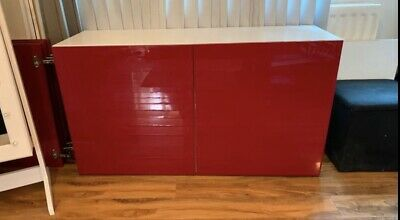 Tv Cabinet Unit Ikea With High Gloss Red Doors • 95£