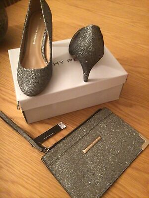 Brand New Dorothy Perkins Pewter Casey Sparkle Shoes Size 6 And Matching Bag • 15£