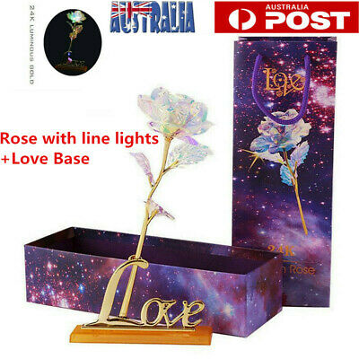 AU11.05 • Buy 24K Gold Galaxy Rose W/ Love Base Luminous Flower Valentine's Mother's Day Gift