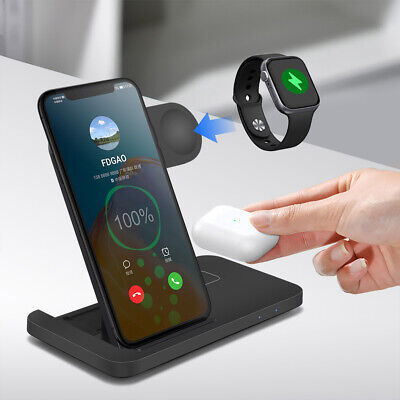 AU29.98 • Buy AU 15W Qi Wireless Charger Dock 3in1 Charging Stand For IWatch IPhone 12 Pro XS