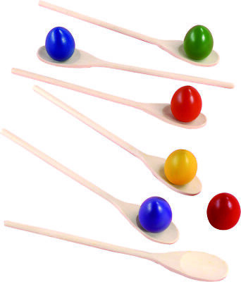 Egg And Spoon Race Set Game Egg Easter Kids Activity Plastic Toy Spoons Pk Of 6 • 13.49£