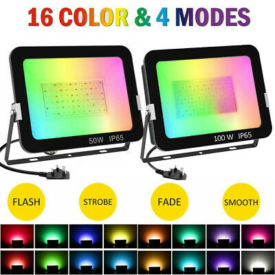 50/100W RGB Colour Changing LED Floodlight Outdoor Garden Security Spotlight UK • 49.89£