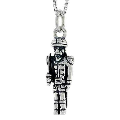 Sterling Silver Soldier Pendant / Charm, Italian Box Chain • 16.84£