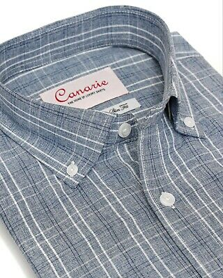 £17.99 • Buy Men's Shirt Non Iron Business Casual Grey Check In Relaxed Regular Slim Fit