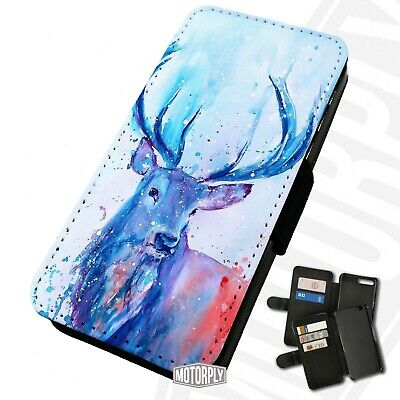 £9.75 • Buy Printed Faux Leather Flip Phone Case For IPhone - Watercolour-Stag