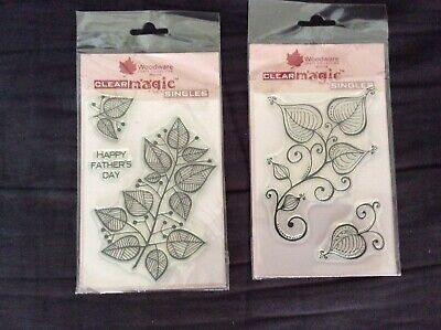 Woodware Craft Collection Clear Magic Leaves And Swirls • 2£