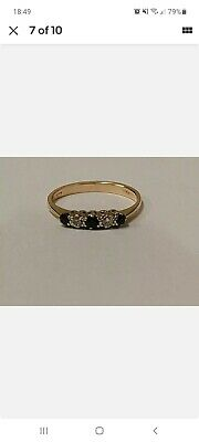 9 Ct Diamond And Sapphire Gold Ring L • 30£