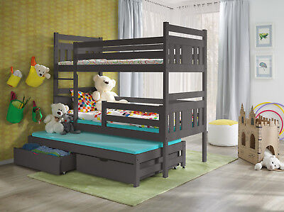 Wooden Bunk Bed Childrens  Triple Or Double Sleeper With Storage Mattresses • 479£