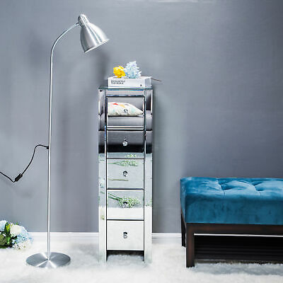 £157.12 • Buy Mirrored Bedside Tables Units Cabinets 5 Drawers Crystal Handles Tallboy