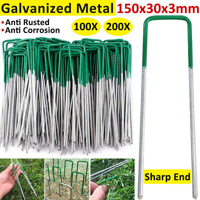 AU17.99 • Buy 100-200x Lawn Anchor U Tent Pegs Weed Mat Turf Fastening Pins Grass Synthetic AU