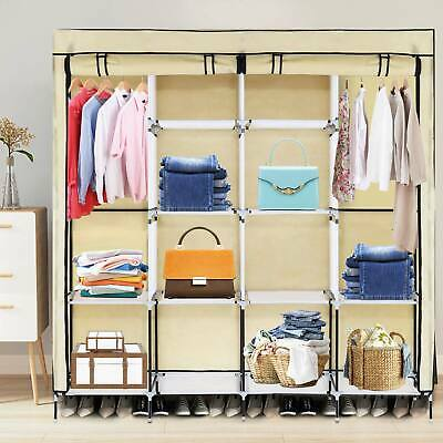 £21.69 • Buy Canvas Wardrobe With Clothes Hanging Rail Clothes Storage Shelves Large Cupboard