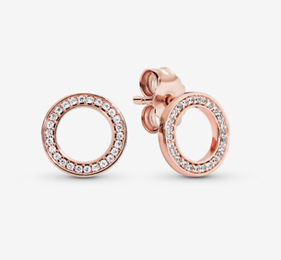 AU34.99 • Buy New Genuine Pandora Rose Gold Forever Stud Earrings # 280585CZ ALE R